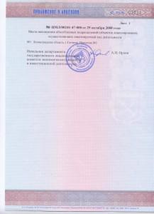 Приложение к лицензии на заготовку, хранение, переработку и реализацию лома цветных металлов.